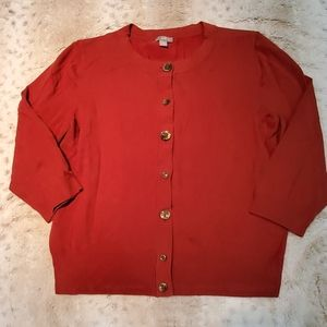 JJill Red Stretchy 3/4 Sleeve Button Down Cardigan